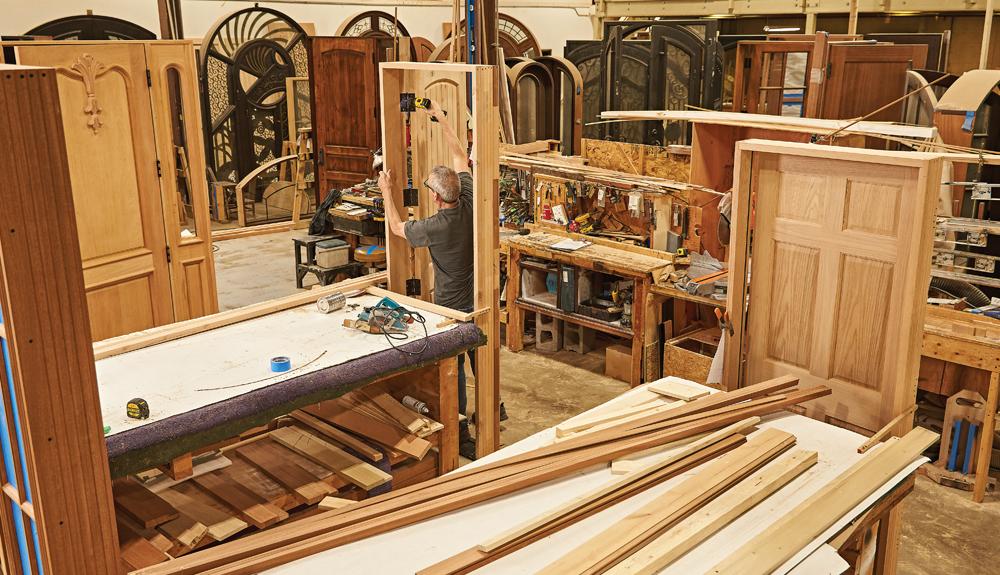 Work room and storage area at Hardwood Door and Bevel