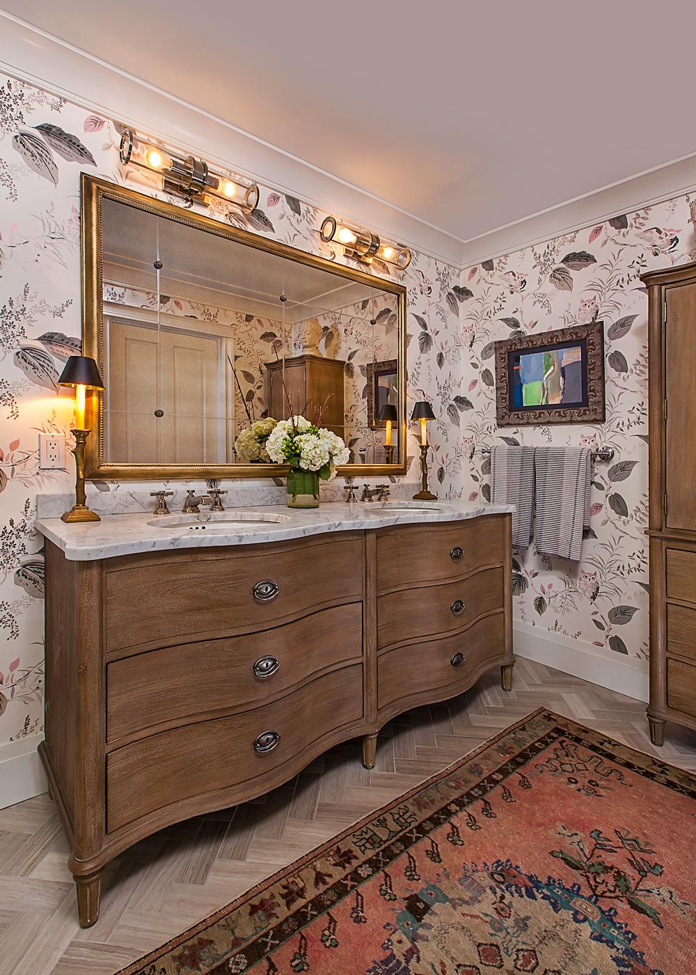 Bathroom rug and marble floors