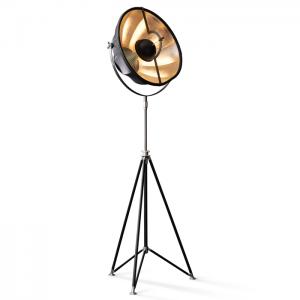 Fortuny Studio 63 floor lamp in black silver-leaf